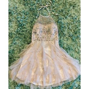 Champagne Beaded Halter Dress